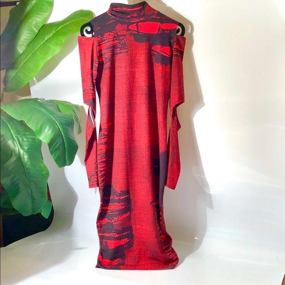 ASOS Dresses & Skirts - Asos sexy red & black midi bodycon dress size 6